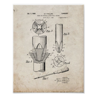 Phillips head Screwdriver Patent - Old Look Poster