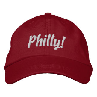 Philly! Cap in Red and White Embroidered Baseball Caps