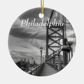 Philly from the bridge christmas ornament