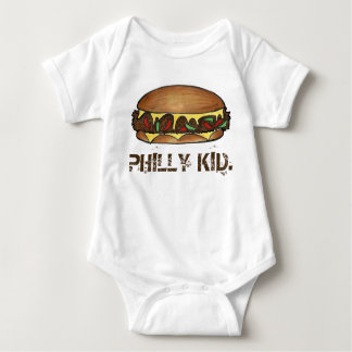 PHILLY KID Philadelphia PA Cheesesteak Sandwich Baby Bodysuit