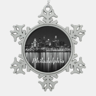 Philly  night b/w snowflake pewter christmas ornament