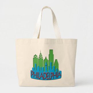Philly Skyline newwave primary Large Tote Bag