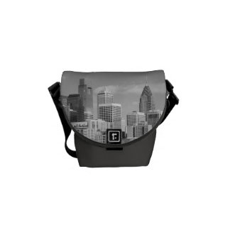 Philly skyscrapers black and white messenger bag