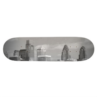 Philly skyscrapers black and white skate boards