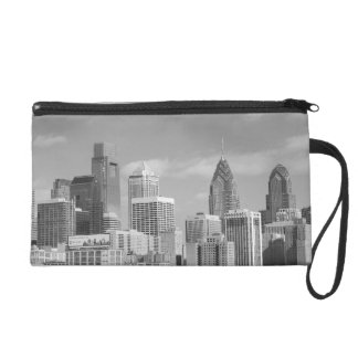 Philly skyscrapers black and white wristlet purse