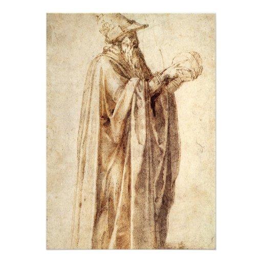 Philosopher by Michelangelo, Vintage Renaissance Personalized Invites