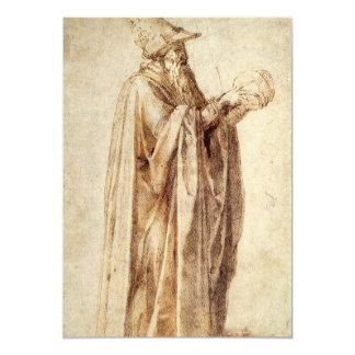 "Philosopher by Michelangelo, Vintage Renaissance 5"" X 7"" Invitation Card"