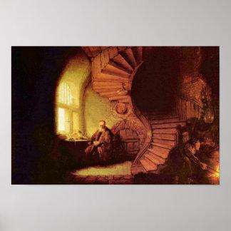 Philosopher In Meditation. By Rembrandt Van Rijn Print