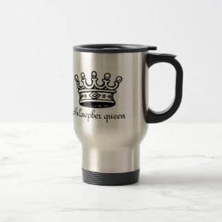 Philosopher Queen (blk crwn) travel mug(left-hand) Stainless Steel Travel Mug