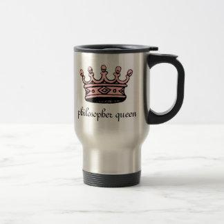 Philosopher Queen (pink crwn)travel mug(left-hand)