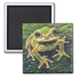 Philosophical Mossy Tree Frog Square Magnet