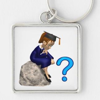 Philosophy 2 Silver-Colored square key ring