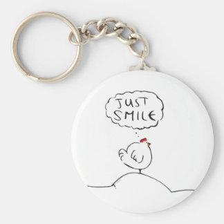 Philosophy Chicken - just smile Basic Round Button Key Ring