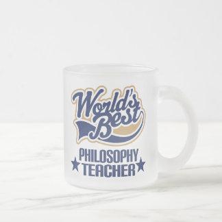 Philosophy Teacher Gift (Worlds Best) Frosted Glass Coffee Mug