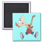 Phineas Rocking Out with Guitar Refrigerator Magnet