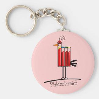 "Phlebotomist ""Blood Tube Bird"" Gifts Basic Round Button Key Ring"