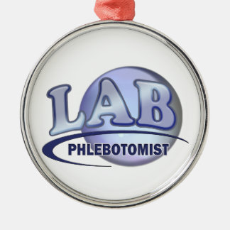 PHLEBOTOMIST Fun Blue LOGO Silver-Colored Round Decoration