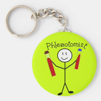 Phlebotomist Stick Person Basic Round Button Key Ring