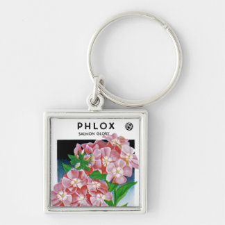 Phlox Salmon Glory Silver-Colored Square Key Ring