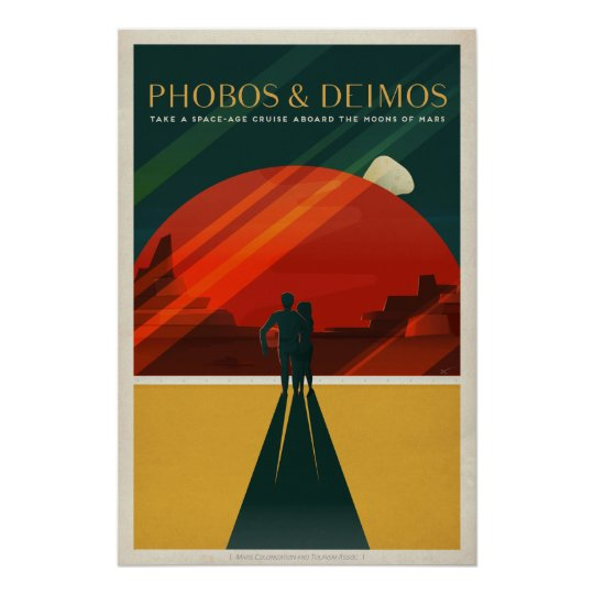 Phobos & Deimos, Mars Tourism Travel Poster