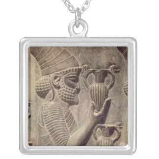 Phoenician carrying two offering, detail relief silver plated necklace