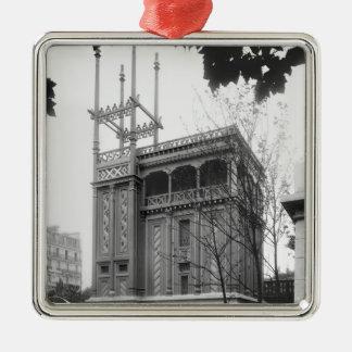 Phoenician House, Universal Exhibition, Paris Silver-Colored Square Decoration