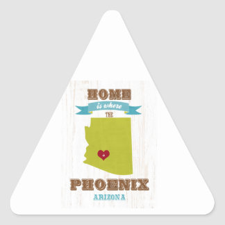 Phoenix, Arizona Map – Home Is Where The Heart Is Triangle Stickers