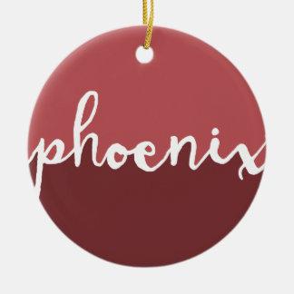 Phoenix, Arizona | Rust Calligraphy Ombre Christmas Ornament