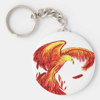 Phoenix Being Reborn Keychain. Basic Round Button Key Ring