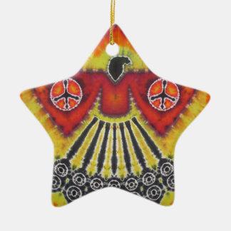 Phoenix Bird Peace Signs Tie Dye Christmas Ornament