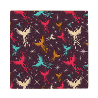 Phoenix Birds Figure Pattern Wood Coaster