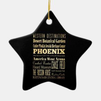 Phoenix City of Arizona State Typography Art Christmas Ornament