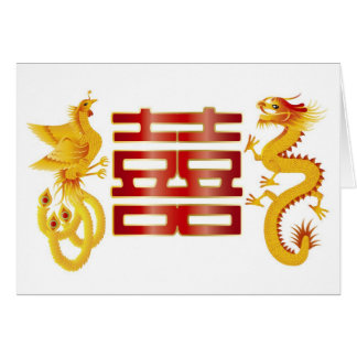 Phoenix Dragon Double Happiness Card