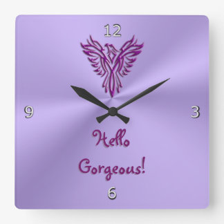 Phoenix Emblem Design with Hello Gorgeous text Wall Clock