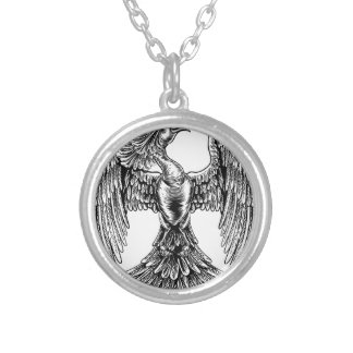 Phoenix Fire Bird in Vintage Woodcut Style Silver Plated Necklace