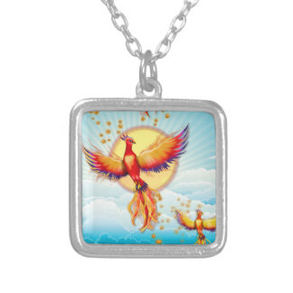 Phoenix Fire Bird Rising Silver Plated Necklace