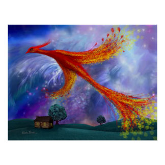 Phoenix Flying at Night Poster