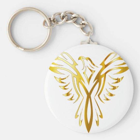 phoenix gold basic round button key ring