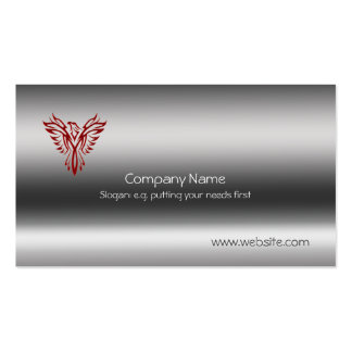 Phoenix in red on metallic-look template pack of standard business cards