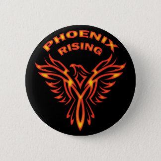 PHOENIX RISING 6 CM ROUND BADGE