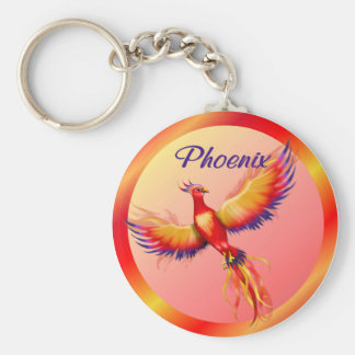 Phoenix Rising Basic Round Button Key Ring