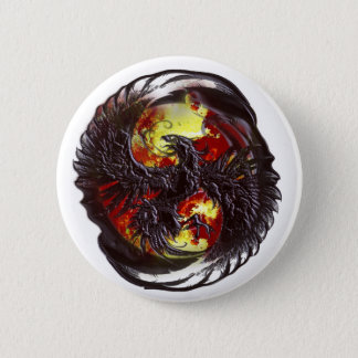 Phoenix Rising Fantasy 6 Cm Round Badge