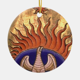 Phoenix Rising from the Ashes Round Ceramic Decoration
