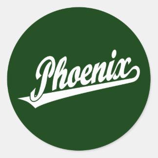 Phoenix script logo in white classic round sticker