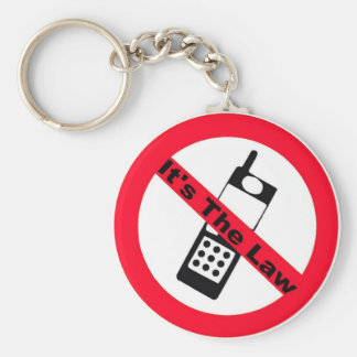 Phone Ban It's The Law Basic Round Button Key Ring