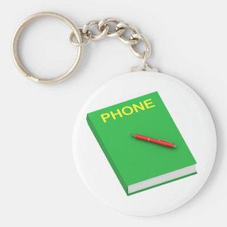 Phone Book Basic Round Button Key Ring