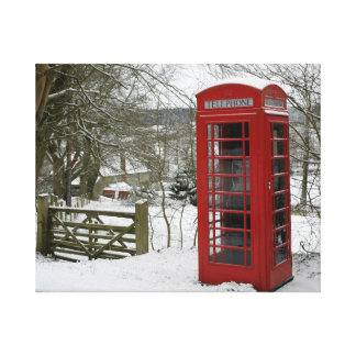 Phone Box in the Snow. Canvas Print