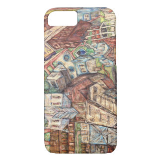 Phone case drawing of eclectic village