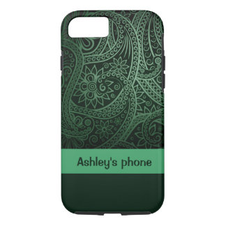 Phone case -- Green paisley background