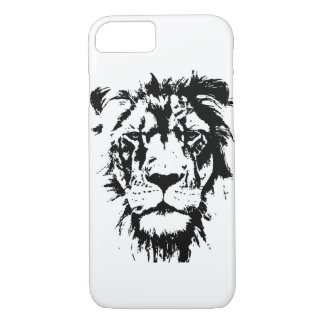 Phone case with black and white print Lion